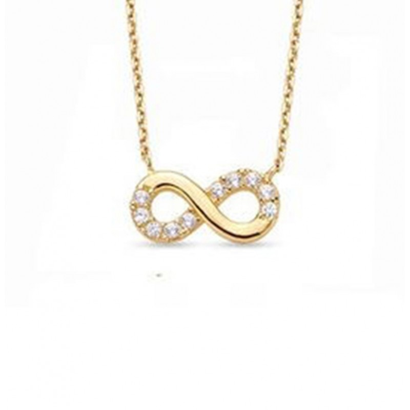 925 Sterling Silver infinity cubic necklace