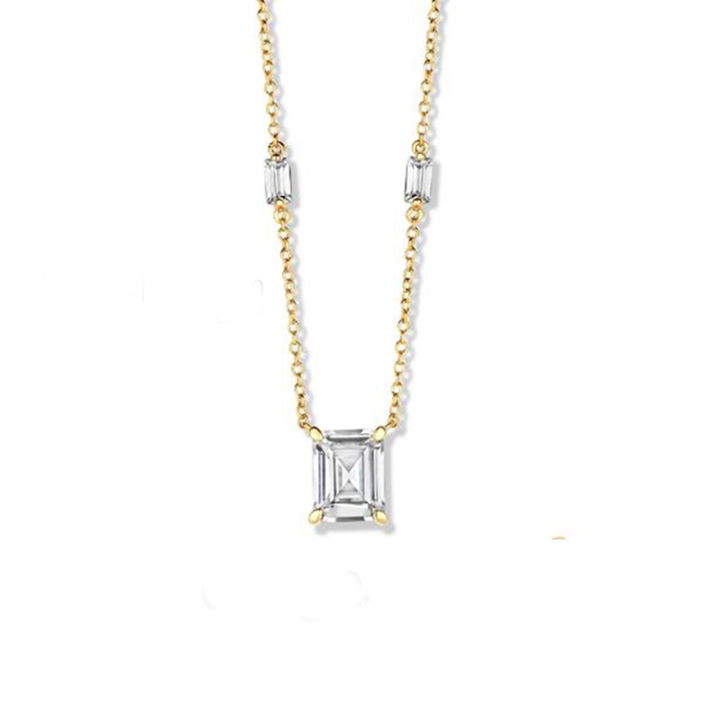 925 Sterling Silver prince cut cubic necklace