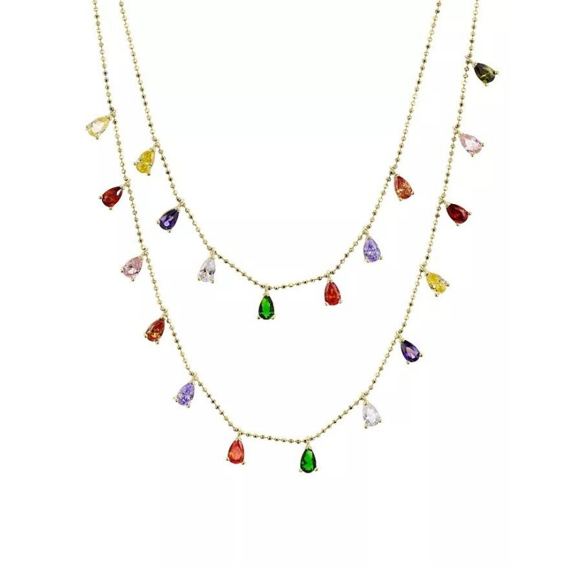 925 Sterling Silver zircon rainbow layered necklac...