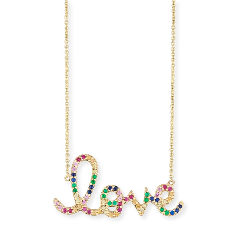 925 Sterling Silver  rainbow love necklace