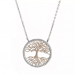 FINEFEY Silver & Rose Gold Tree Pendant Neckla...