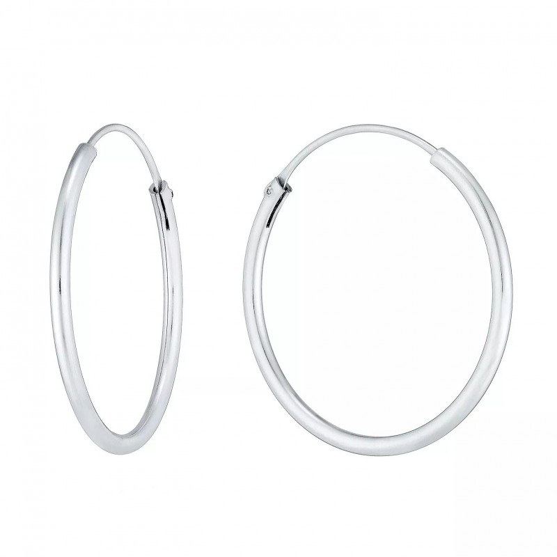 FINEFEY Sterling Silver 25mm Hoop Earrings