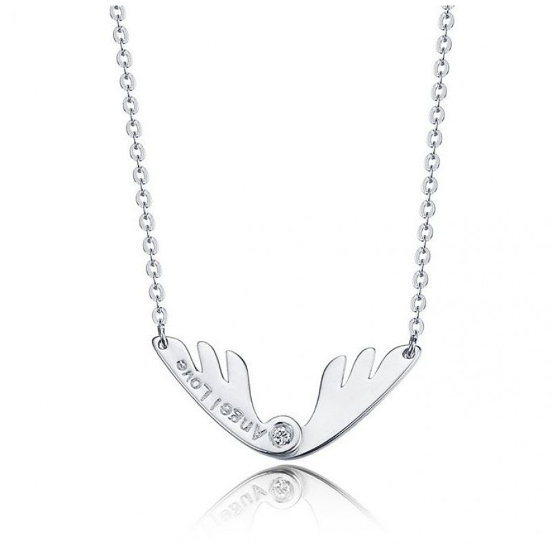 925 Sterling Silver Angel Deer Horn Necklace
