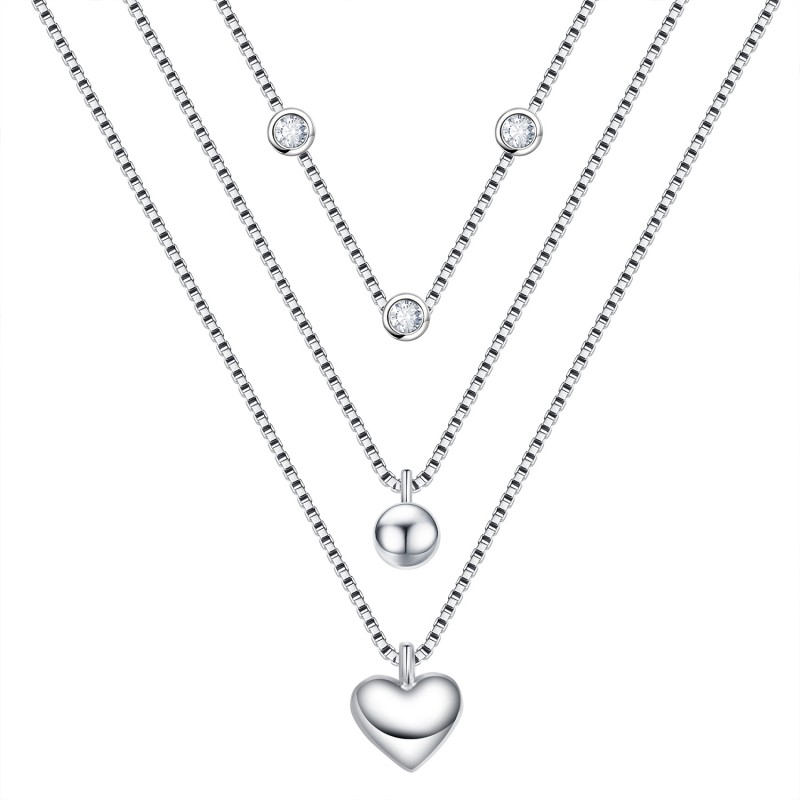 FINEFEY Sterling Silver 3 Layers Heart Necklace wi...